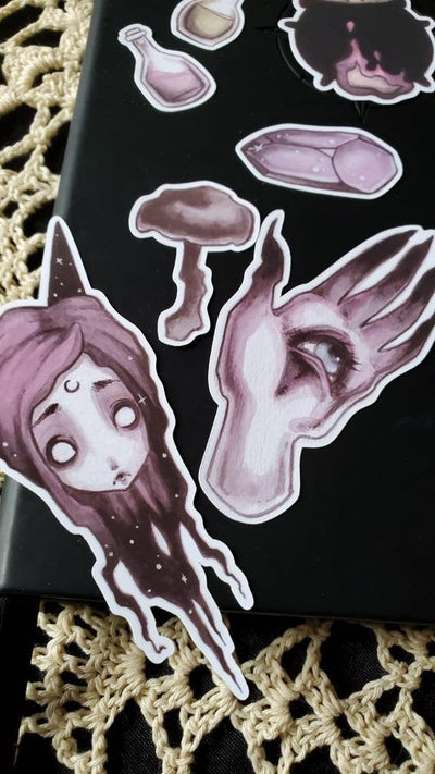 WITCH goth STICKER pack -Lowbrow misfits White Stag Art