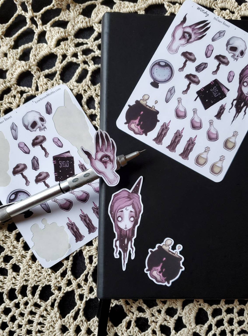Witch gothic STICKER sheet -Lowbrow misfits White Stag Art