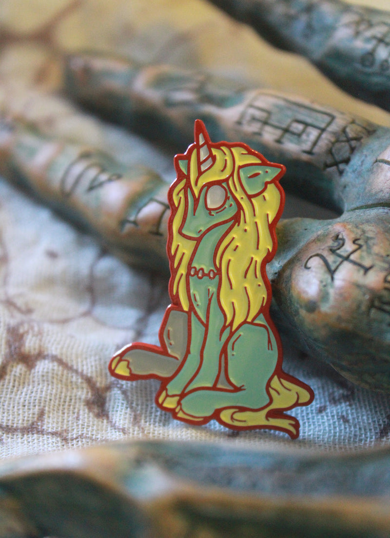 Zombicorn Enamel pin -Lowbrow misfits White Stag Art