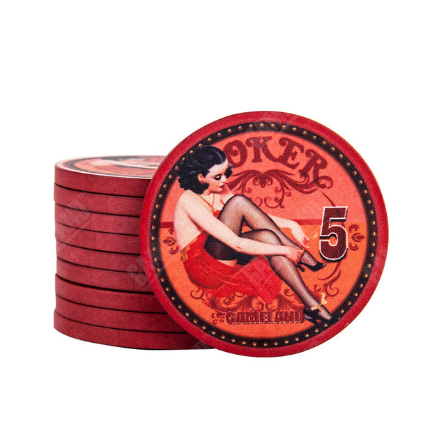 Beautiful Lady Poker Chips (1 order = 5 chips)