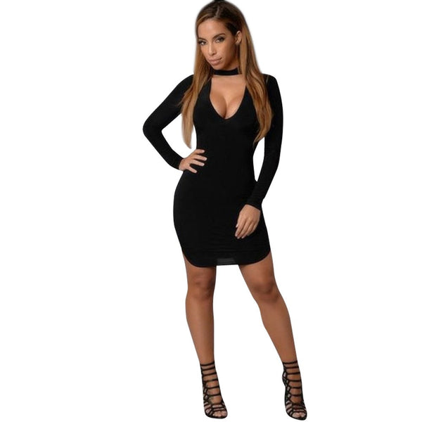 Cotton Solid V-neck Bodycon Long Sleeve Evening Party Short Mini Dress