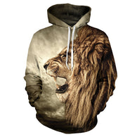 Casual Lion Head Hip Hop Pullover Hoodie