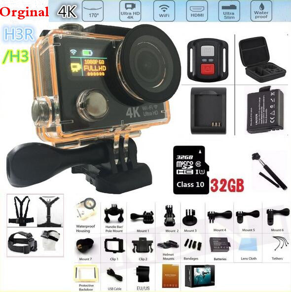 Action camera 4K H3 / H3R Original remote action camera Ultra HD WiFi 1080P dual screen 2.0