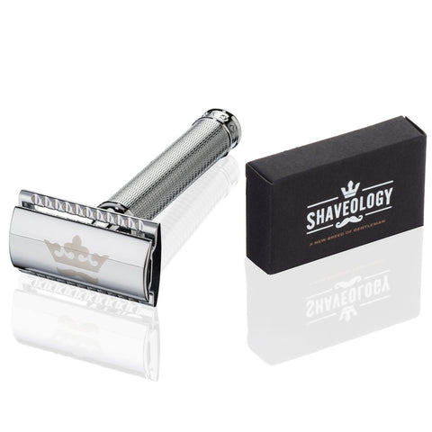 The Griffin Luxury Double Edge Safety Razor + 5 Platinum Steel Blades + Deluxe Wet Shave Kit