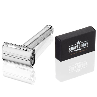 Griffin Butterfly Safety Razor Kit for Men + 5 Platinum Double Edge Razor Blades + Leather Blade Guard + Polishing Towel
