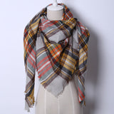 2017 Fashion Brand Designer Cashmere Triangle Pink Scarf Winter Women Shawl Pashmina Cape Blanket Plaid Foulard Wholesale
