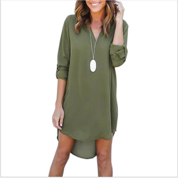 High Quality Autumn Dresses 2017 Fashion Women Casual Loose Plus Size Elegant Dress Long Sleeve Irregular Chiffon Dress Vestidos
