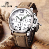 2017 New MEGIR Luxury Brand Quartz Watches Men analog chronograph Clock Men Sports Military Leather Strap Fashion Wrist Watch