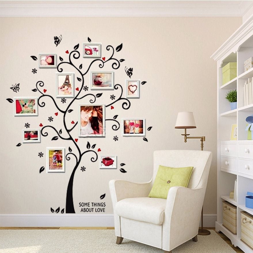 100120cm4048in 3d Diy Removable Photo Tree Pvc Wall Decals