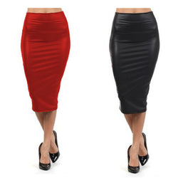 High waist Leather Skirt  XL XXL XXXL Black red sexy Pencil skirts middle long Casual mermaid skirt party bar club travel