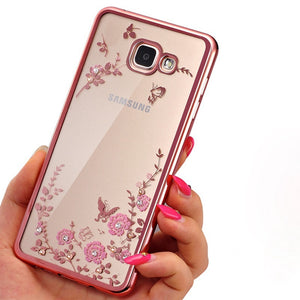 Frame Clear Case Cover For Samsung Galaxy A3 A5 A7 2016 2015 J3 J5 J7 Grand Prime S3 S4 S5 S6 S7 edge Flower Diamonds Soft Cases