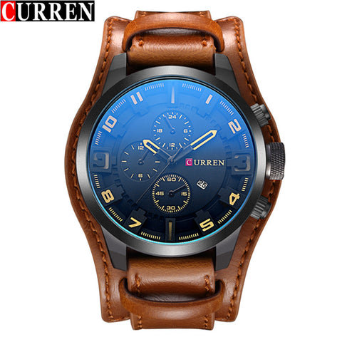 Curren Men's Casual Sport Quartz Watch Mens Watches Top Brand Luxury Quartz-Watch Leather Strap Military Watch Wrist Male Clock