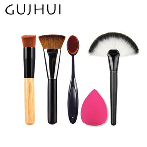 4pcs Best Makeup Brush Set Powder Foundation Travel Cosmetic Brushes Contouring Fan Makeup Brush Tools With Sponge Puff #86764