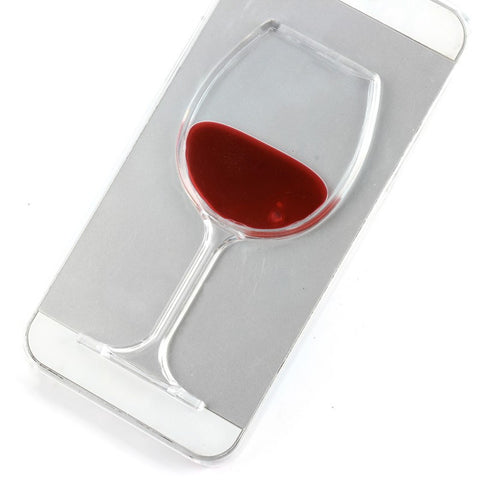 3D Liquid Quicksand Wine Glass Cocktail Bottle Phone Cover Case For IPhone 5 5s