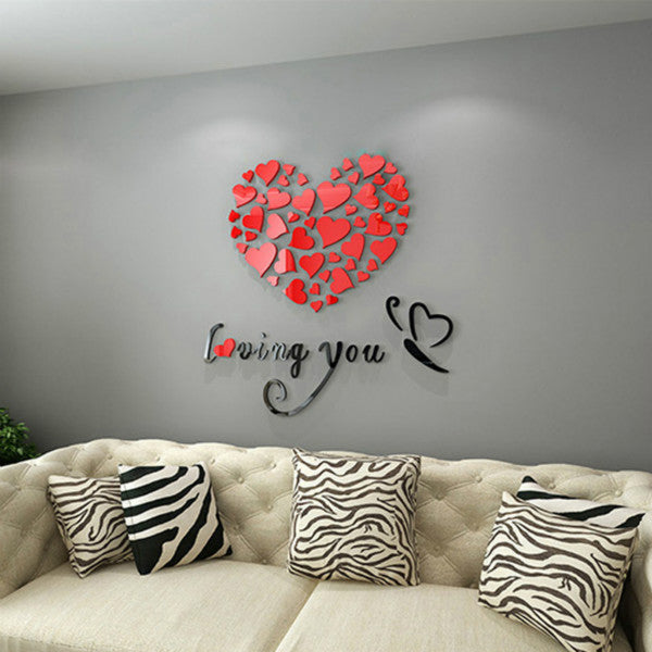 ... Romantic DIY Art 3D Acrylic Love Heart Wall Sticker Bedroom Living Room  Wedding Decoration Wall Stickers ...