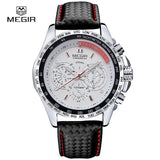 Megir fashion luminous quartz watch man casual leather brand watches men analog waterproof wristwatch for male hot hour 1010