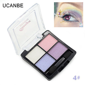 Maquiagem Professional 4 Colors Fashion Glitter Eyeshadow Palette Natural Cosmetics Naked Makeup Shining Eye Shadow with Brush
