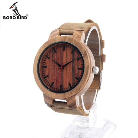 BOBO BIRD C16 Men's Design Brand Luxury Zebra Wooden Watches With Red Wood Dial Face Real Leather Band Quartz Watch in Gift Box