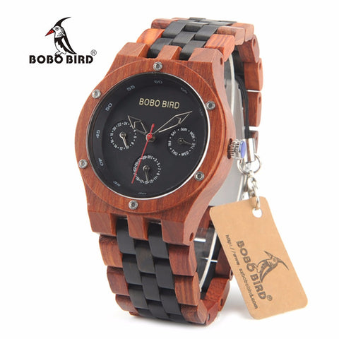 BOBO BIRD N17 Wooden Watches Mens Top Brand Luxury Clock with Two Colors Band Accept Logo Laser Customized Item Dropshipping