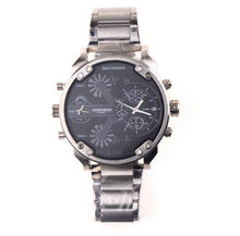 SHIWEIBAO A3137 Men Watch Dual Time Display Big Dial Stainless Steel Band Men Quartz Military Wristwatch relogio masculino