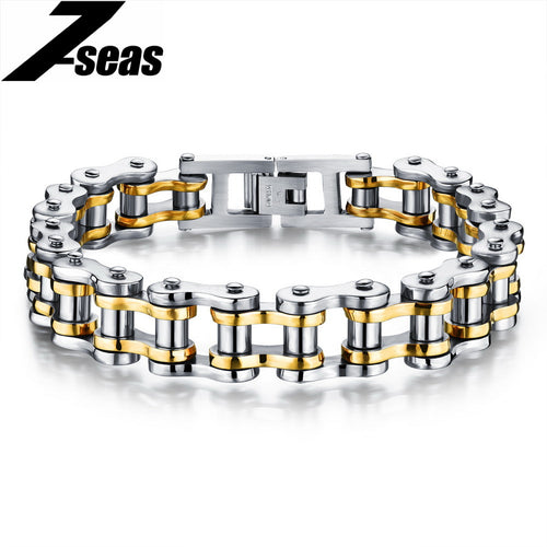 Cool Men Biker Bicycle Motorcycle Chain Men's Bracelets & Bangles Fashion 4 Color 316L Stainless Steel Jewelry,JM781J
