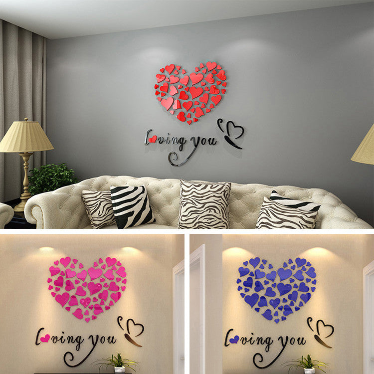 Romantic Diy Art 3d Acrylic Love Heart Wall Sticker Bedroom Living