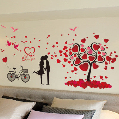 Free Shipping Romantic love tree couple birds bicycle removable wall sticker for wedding bedroom bedside mural decal home decor