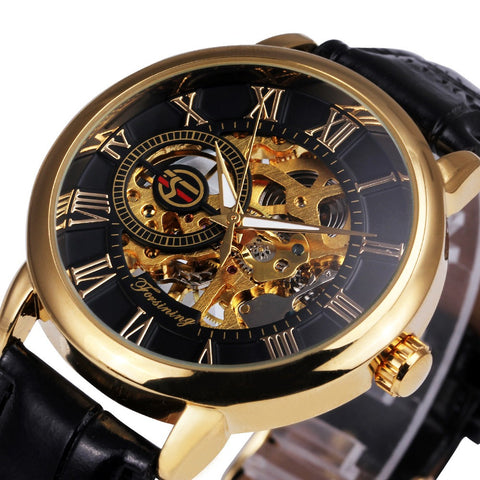 2017 Forsining 3d Logo Royal Design Black Gold Men Mechanical Watch Montre Homme Mens Watches Top Brand Luxury Leather Skeleton