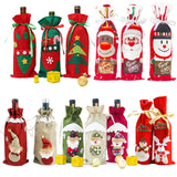 2019 Christmas Decor For Home Xmas Wine Bottle Bag Cover Santa Claus Deer Bottle Clothes Kitchen Decoration New Year Navided
