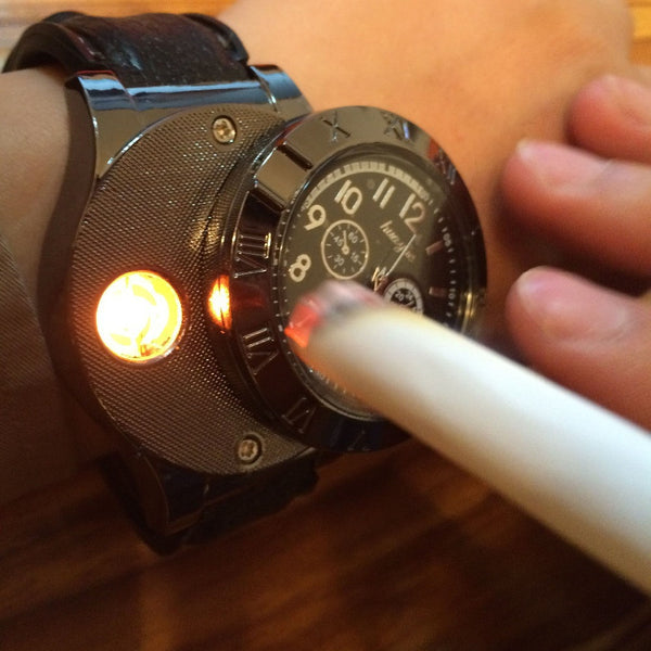 New 2017 Military USB Charging sports Lighter Watch Men's Casual Quartz Wristwatches with Windproof Flameless Cigarette Lighter