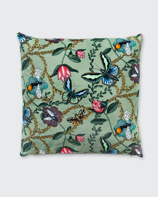 Bugs And Butterflies Green - Cushion Cover , Cotton