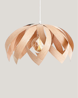 Lotus Oak - Wooden Veneer Lamp - Pendant Lighting