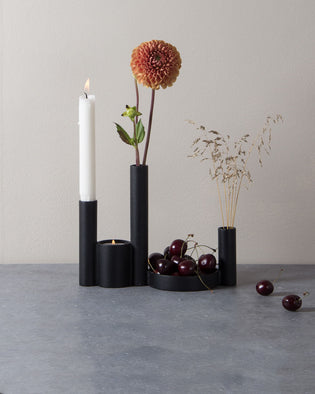 Parad Candlestick And Vase - Black