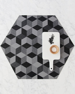 Polygon Placemat - Graphite Set Of 2