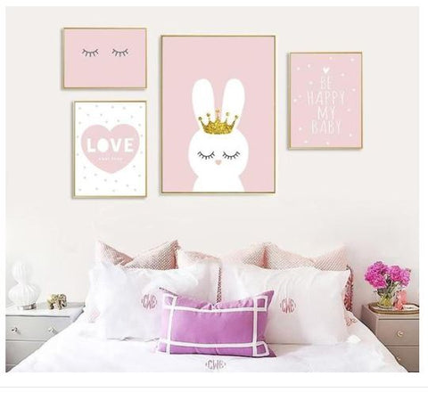 "Alt=""Four paintings crowned bunny Heart quote sleepy eyelashes"""