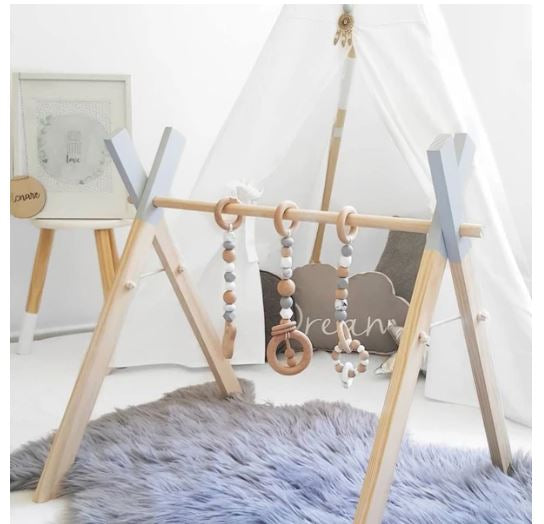 "Alt=""Nordic baby activity rack gym with 3 hanging toys"""
