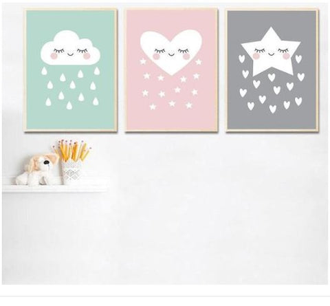 "Alt=""Trio of canvas painting star cloud heart"""