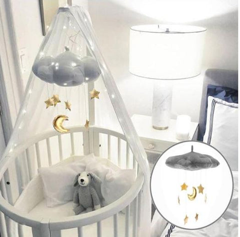 alt=baby mobile cloud with golden stars""