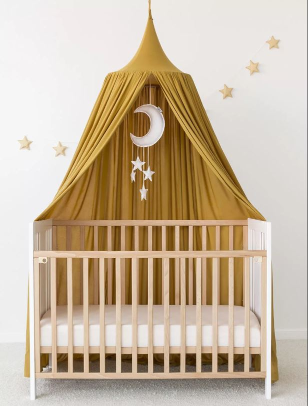 "Alt=""Baby canopy yellow over bed"""