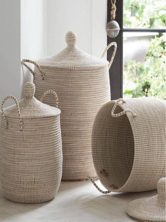 Alibaba Seagrass basket with handles and lid
