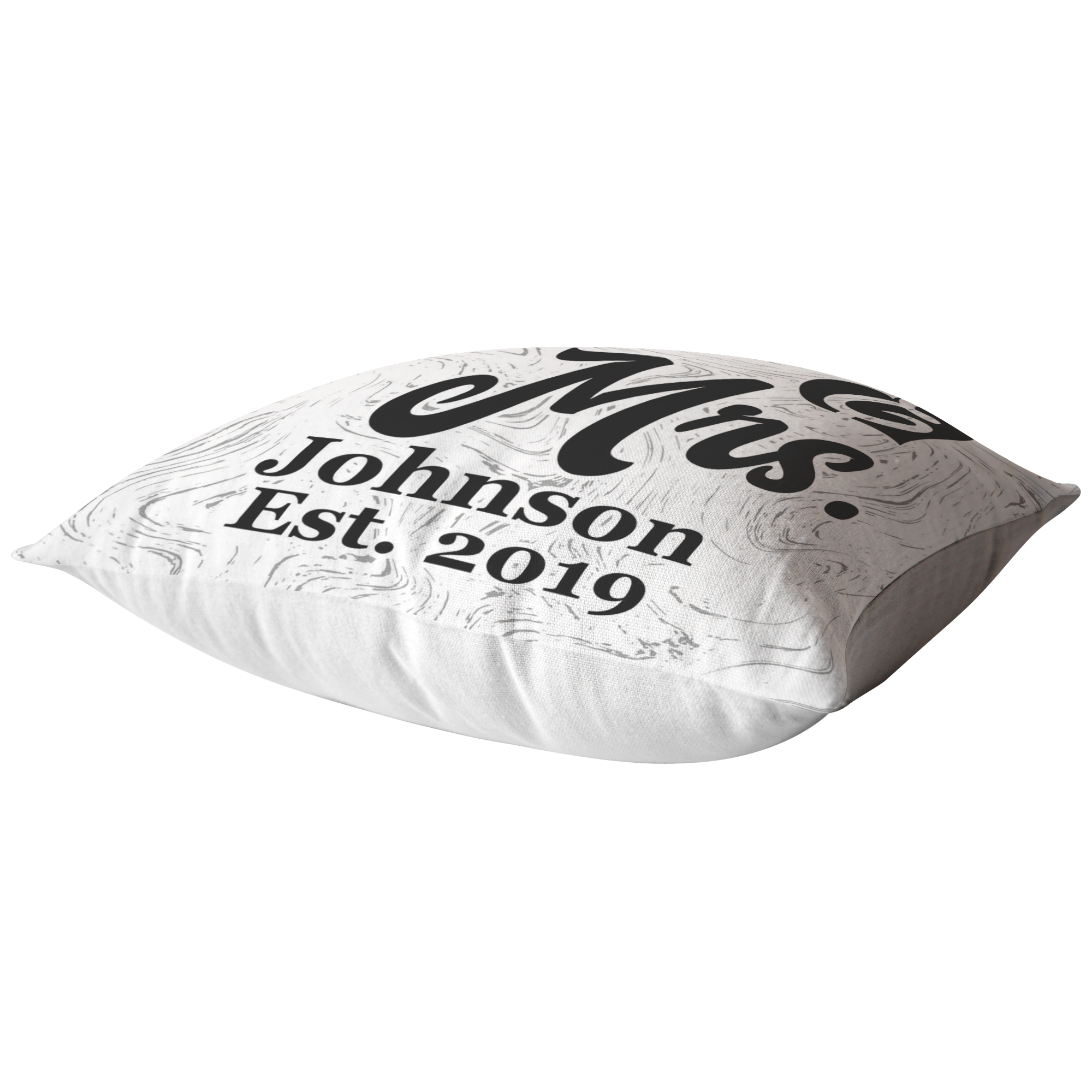"Personalized Pillow ""Mr. & Mrs."" With Name and Year"