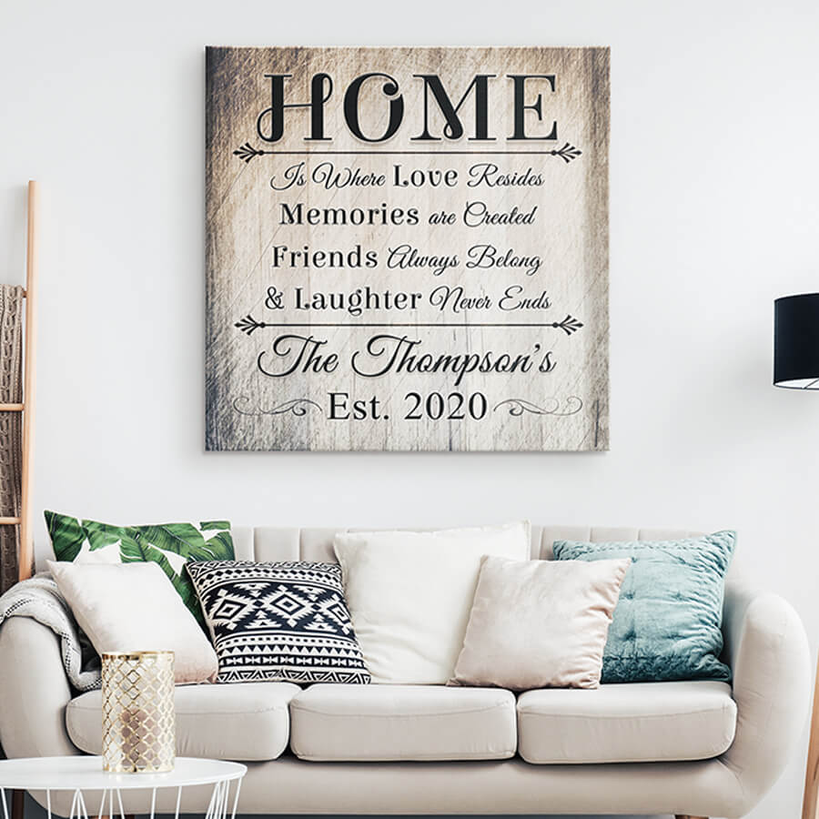 "Personalized ""Home Is Where Love Resides"" Premium Canvas"