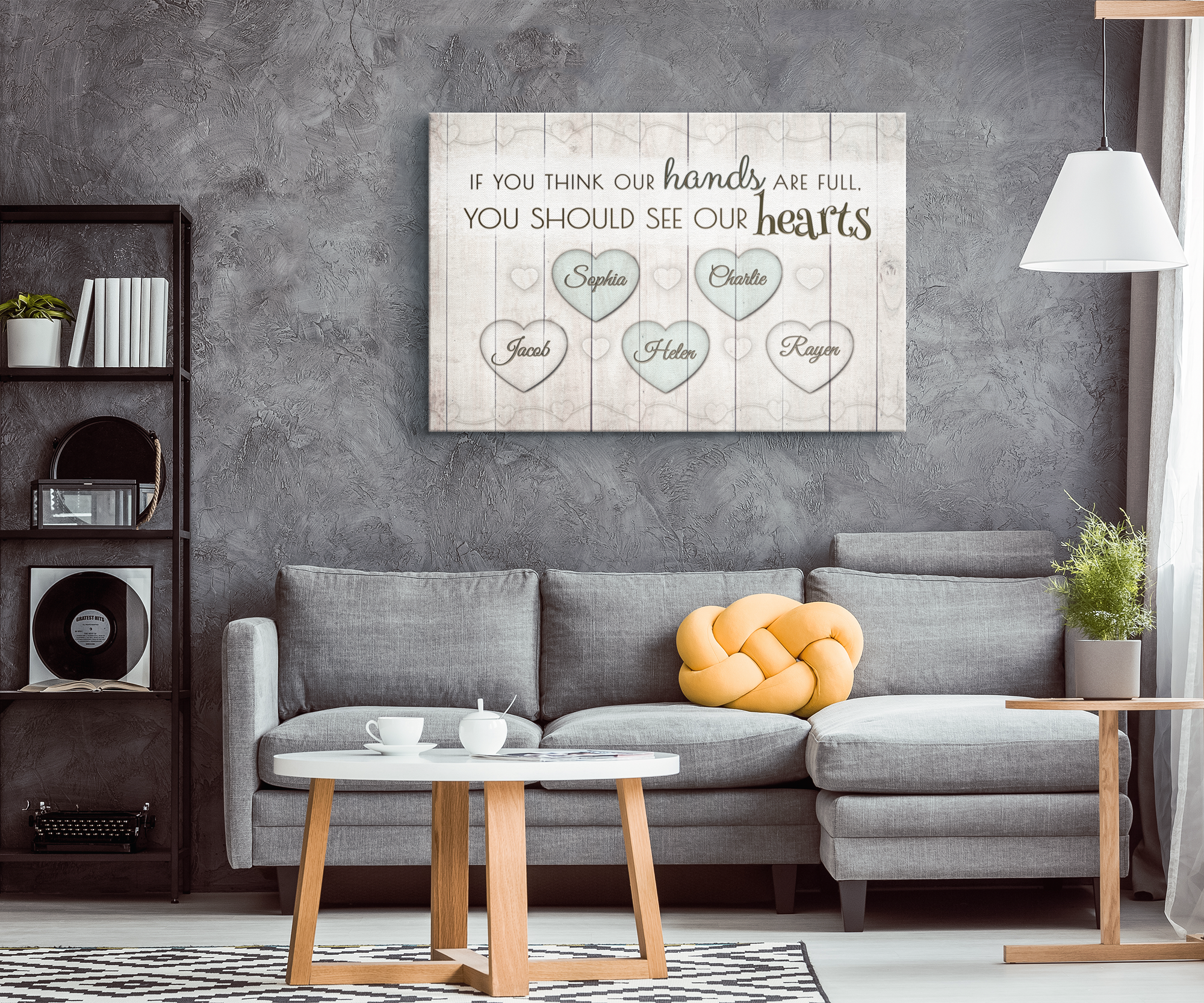 "Personalized ""If You Think Our Hands Are Full - See Our Hearts"" Premium Canvas"