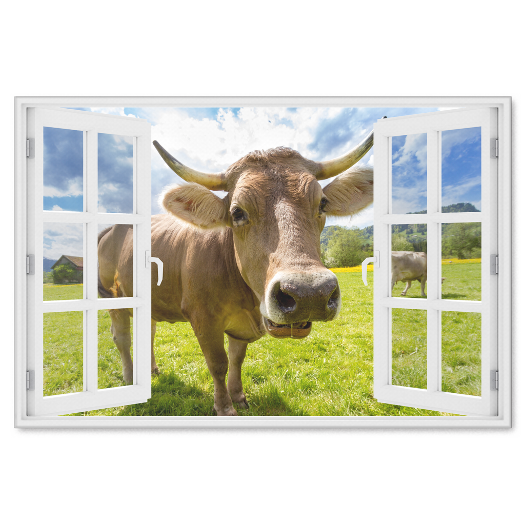 """Curious Cow At Window"" Premium Canvas"