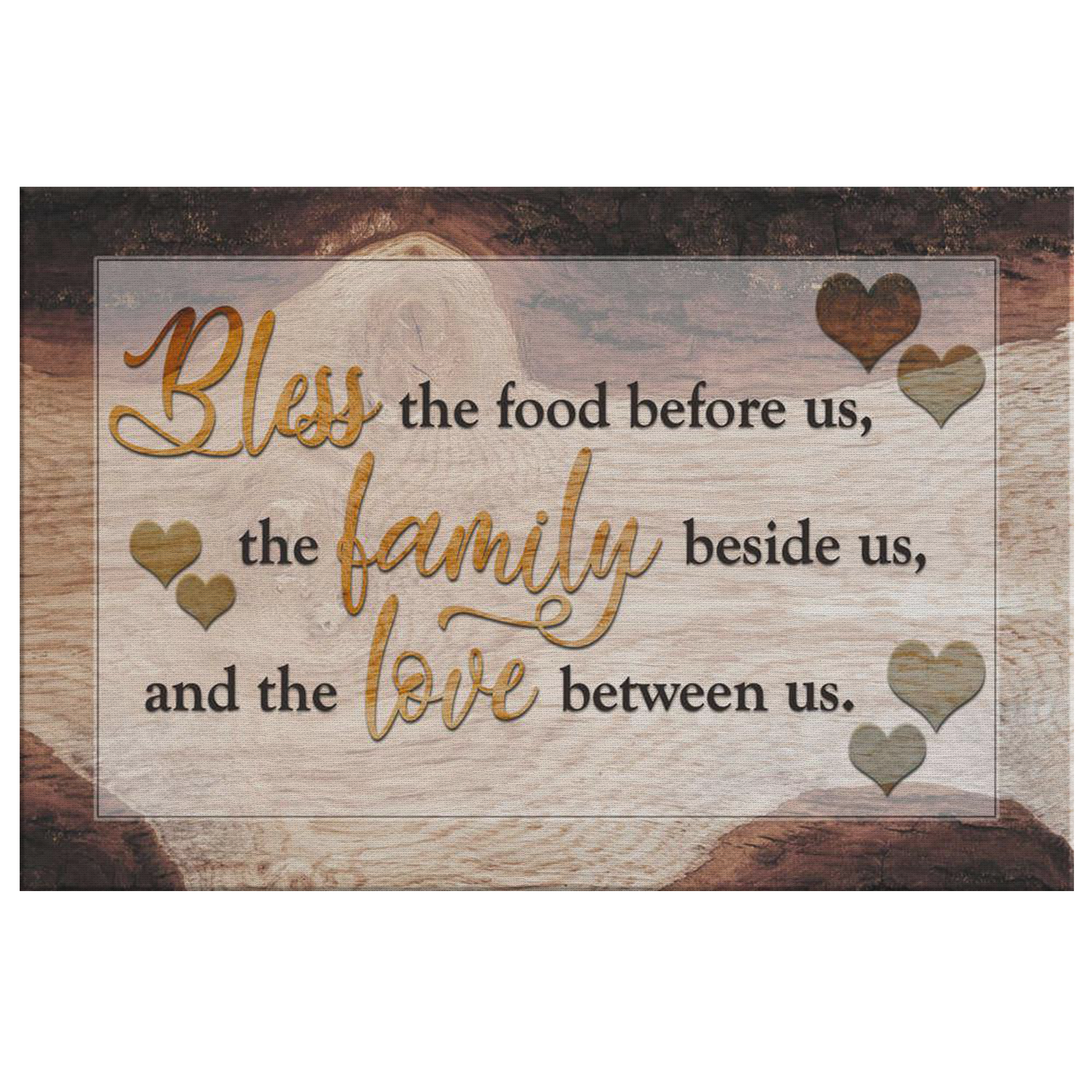 """Food, Family, Love"" Premium Rustic Canvas"