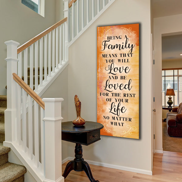 """Being A Family Means You Will Love And Be Loved"" Premium Panoramic Canvas"