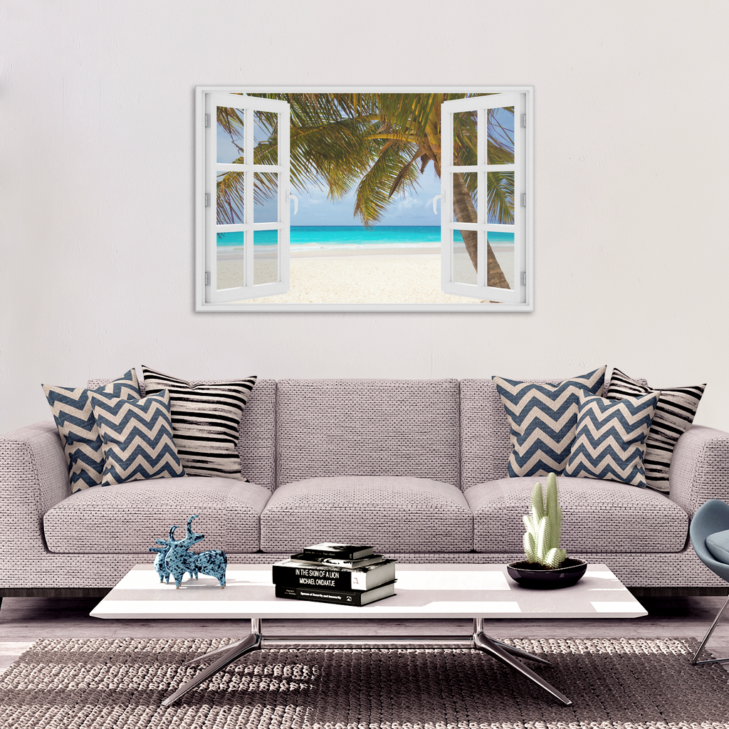 """Palm Beach Window View"" Premium Canvas"