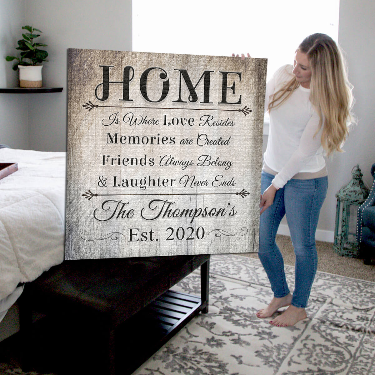 "Personalized ""Home Is Where Love Resides"" Premium Canvas Wall Art"