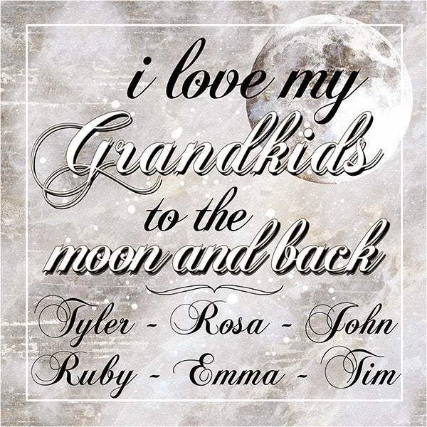 "Personalized ""I Love My Grandkids To The Moon And Back"" Premium Canvas"