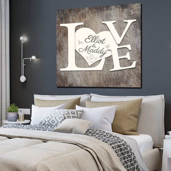 "Personalized ""LOVE - Names on Heart"" Premium Canvas"